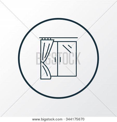 Window Icon Line Symbol. Premium Quality Isolated Casement Element In Trendy Style.