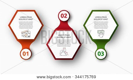 Vector Infographic With 3 Hexagons And Circles. Used For Three Diagrams, Graph, Flowchart, Timeline,