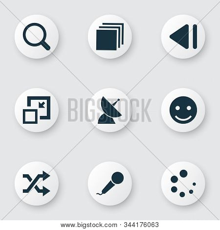 Multimedia Icons Set With Shuffle, Slow Backward, Minimize And Other Previous Elements. Isolated Ill