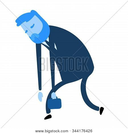 Exhausted Businessman. Flat Design Icon. Flat Vector Illustration. Isolated On White Background.