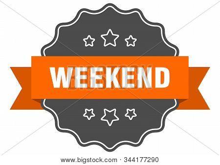Weekend Isolated Seal. Weekend Orange Label. Weekend