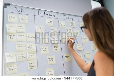 Side View Of Businesswoman Writing On Sticky Notes Attached To White Board In Office
