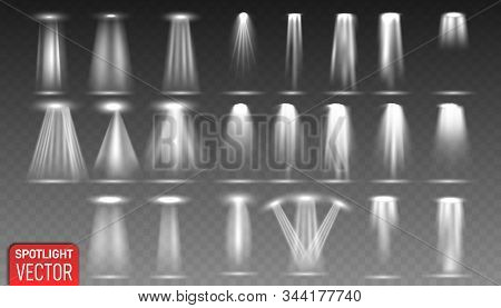 Set Of The White Spotlight Shines On The Stage, Scene, Podium. Bright Lighting With Spotlights. Scen