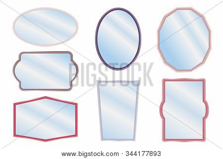 Mirror Frames Or Mirror Decor Interior Vector Illustration.  Realistic Mirrors. Metal Round And Rect