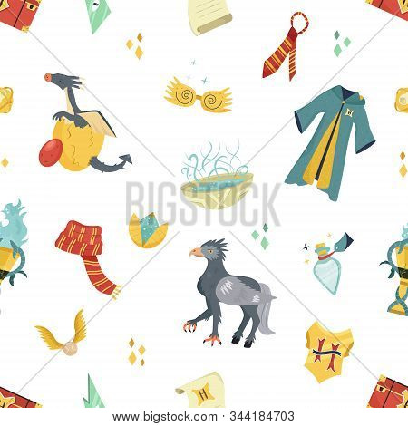 Seamless Pattern With Magic Items And Tools.
