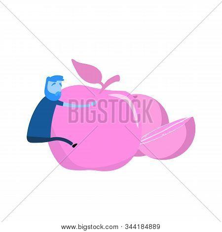 Cartoon Man Clinging On To Giant Apple. Healthy Lifestyle, Healthy Food Choice. Cartoon Design Icon.