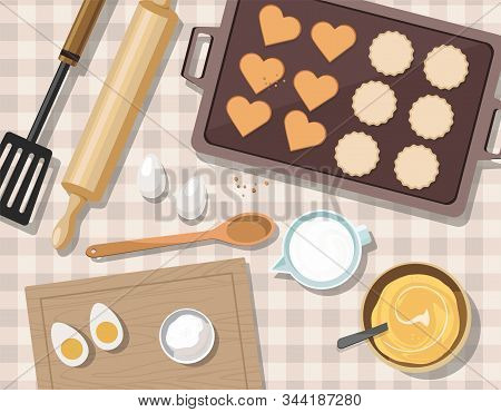 Baking Utensils And Cooking Ingredients For Cookies And Pastry. Top View. Sugar, Eggs And Spices. Va