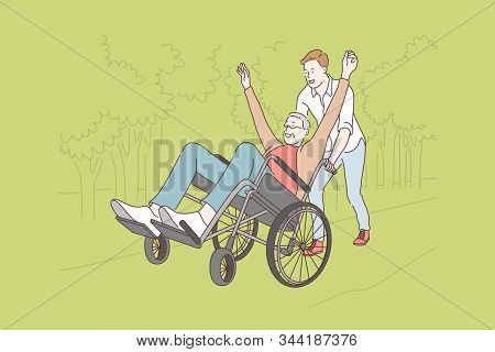 Family, Voluntarism, Disability Care Concept. Young Volunteer Helps Disabled Oldman, Riding On Wheel