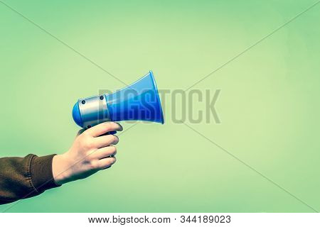Retro Style Megaphone Announcement Background With Vintage Border And Hold Holding Speaker