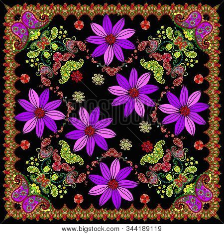 Beautiful Bandana Print With Bright Flowers And Paisley. Decorative Square Ornament For Scarf, Shawl