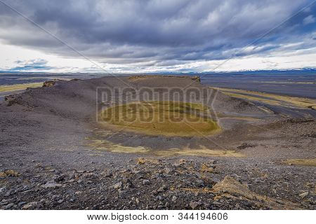 View From The Edge Of Hrossaborg Crater In Iceland