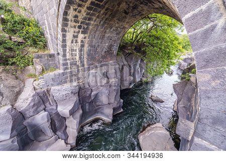 Alcantara River Next To Bridge Near Castiglione Di Sicilia Village On Sicily Island In Italy