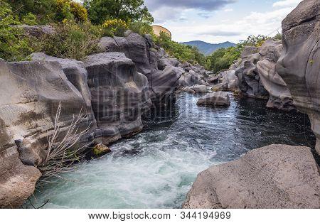 Alcantara River On Sicily Island In Italy - View Near Castiglione Di Sicilia Village