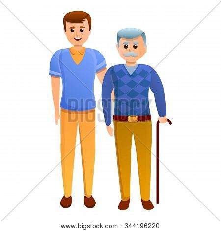 Volunteer With Grandfather Icon. Cartoon Of Volunteer With Grandfather Vector Icon For Web Design Is