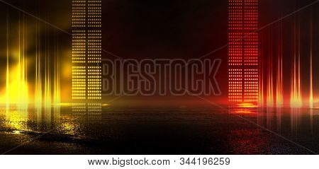 Background Of Empty Show Scene. Empty Dark Modern Abstract Neon Background. Glow Of Neon Lights On A
