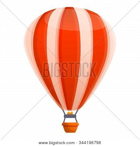 Red White Air Balloon Icon. Cartoon Of Red White Air Balloon Vector Icon For Web Design Isolated On