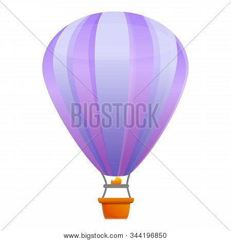 Violet Air Balloon Icon. Cartoon Of Violet Air Balloon Vector Icon For Web Design Isolated On White