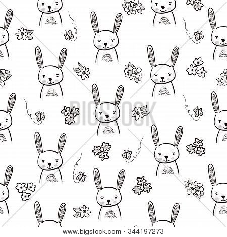 Bunny Seamless Black And White Pattern. Hand Drawn Rabbit Head Seamless Background. Doodle Bunny Fac