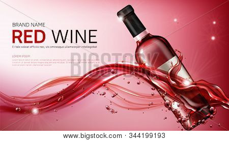 Wine Glass Bottles In Flowing Red Liquid Realistic Vector Illustration. Clear Winery Bottle For Alco