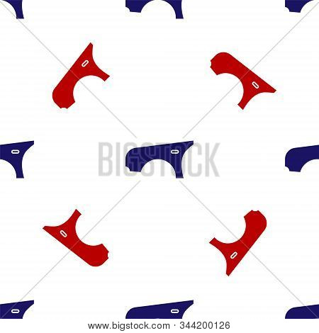 Blue And Red Car Fender Icon Isolated Seamless Pattern On White Background. Vector Illustration