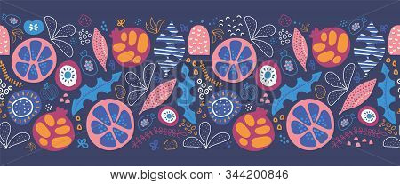 Seamless Border Abstract Tropical Leaves And Fruit. Repeating Pattern With Stylized Foliage Fruit Ha