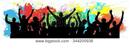 People Celebrate Silhouette. Cheer Youth. Crowd Friends Cheer. Colorful Background Vector Illustrati