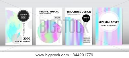 Holographic Gradient Vector Background. Fluorescent Gradient Overlay Holograph Unfocused Cover.  Dre