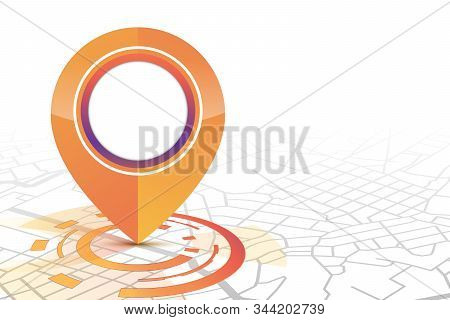 Gps Icon Mock Up Orange Color Technology Style Showing On The Street.isolate White Background