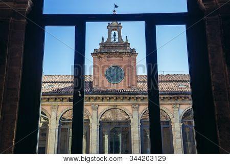 Clock Of Archiginnasi - Historic Main Building Of University In Bologna City, Italy