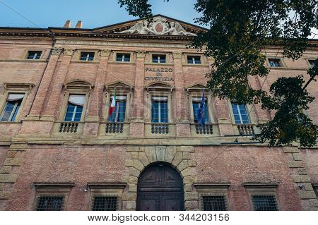 Appeals Court Located In Historic Ranuzzi Palace Also Called Baciocchi Palace In Bologna City, Italy