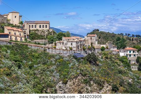 Houses On A Hill In Savoca, Small Town On Sicily In Italy