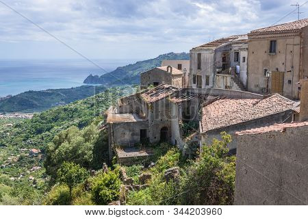Historic Buildings In Savoca, Small Town On Sicily In Italy