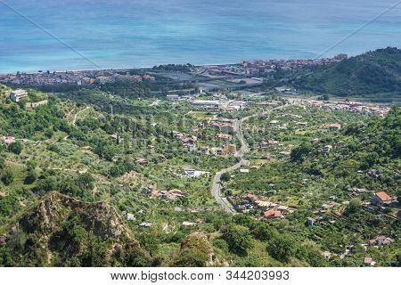 Santa Teresa Di Riva And Sant Alessio Siculo Villages - View From Savoca Town On Sicily In Italy