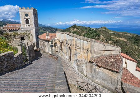 Tower Of Saint Nicholas Church Also Called Saint Lucy Church In Savoca, Small Town On Sicily In Ital