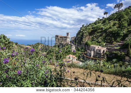 View With Saint Nicholas Church Also Called Saint Lucy Church In Savoca, Small Town On Sicily In Ita