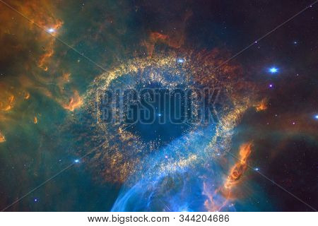 Nebulas, Galaxies And Stars In Beautiful Composition. Awesome Print For Wallpaper. Elements Of This