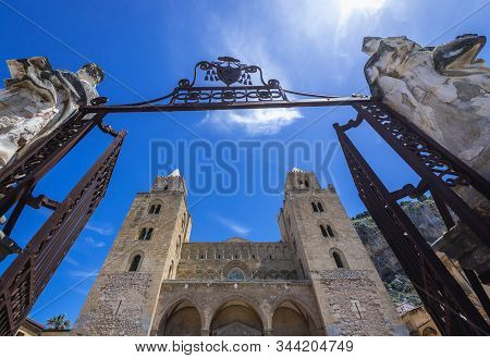 Exterior View Of Cathedral On The Old Town Of Cefalu City On Sicily Island In Italy