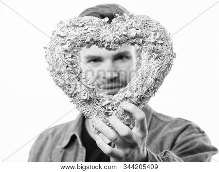 Do You Like It. Valentines Day Party. Love And Romance. Man With Decorative Heart. Date. Romantic Gr