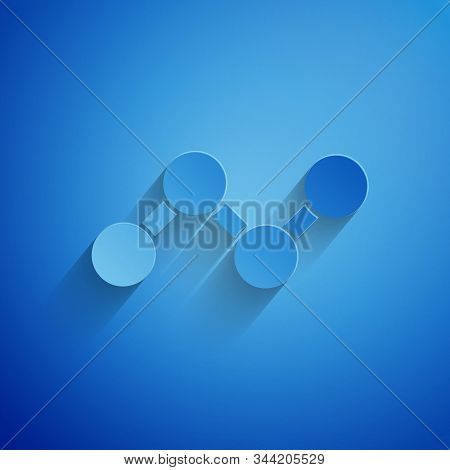 Paper Cut Share Icon Isolated On Blue Background. Sharing, Communication Pictogram, Social Media, Co