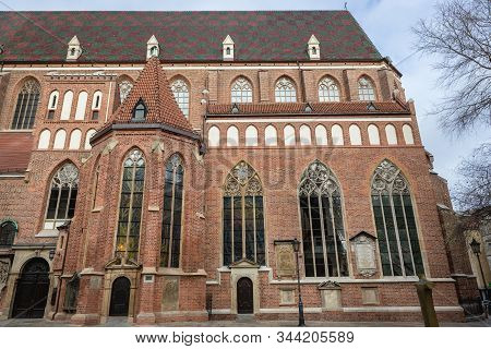 Side View Of Basilica Of St Elisabeth On The Old Historic Part Of Wroclaw, Capital City Of Lower Sil