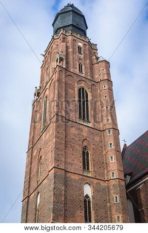 Basilica Of St Elisabeth Tower On The Old Historic Part Of Wroclaw, Capital City Of Lower Silesia Pr