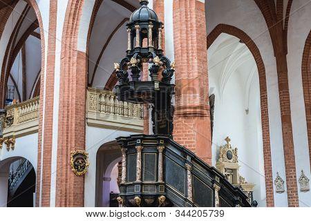 Wroclaw, Poland - December 2, 2019: Ancient Pulpit In Garrison Church - Basilica Of St Elisabeth Loc