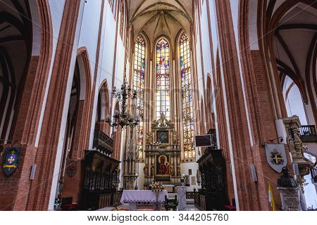 Wroclaw, Poland - December 2, 2019: High Latar And Chancel Of Garrison Church - Basilica Of St Elisa