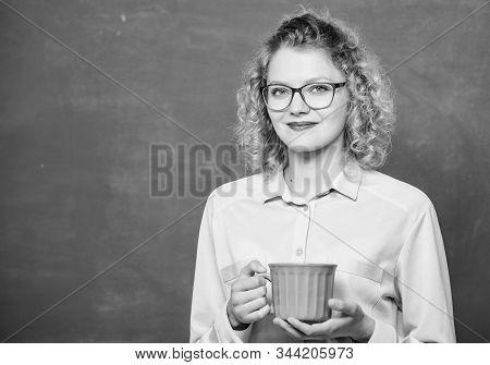 School Teacher Need Coffee Break. Good Morning. Girl Refreshing With Tea Drink. Energy And Vigor. En