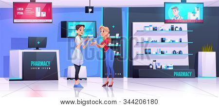 Pharmacist Serves Client In Pharmacy. Vector Drugstore Interior With Medical Products On Shelves, Co