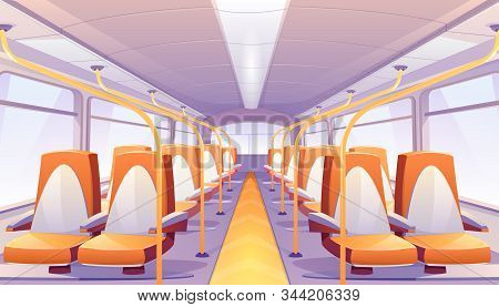 Empty Bus Interior With Orange Seats. Vector Cartoon Passenger Cabin Of Public City Transport With C
