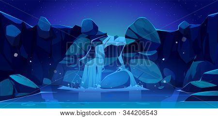Waterfall At Night Cartoon Illustration. River Stream Flowing Through Rocks To Mountain Lake. Vector