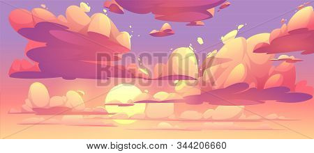 Sunrise Or Sunset Sky With Clouds. Vector Cartoon Illustration Of Beautiful Evening Or Morning Cloud