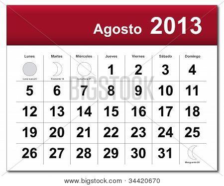 Spanish Version Of August 2013 Calendar
