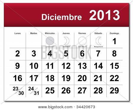 Spanish Version Of December 2013 Calendar
